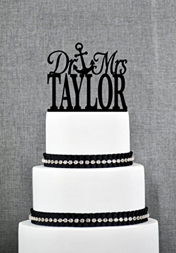 Elegant Dr and Mrs Last Name Wedding Cake Topper with Anchor Unique Custom Cake Topper Traditional Dr and Mrs Wedding Cake Topper - Mrs Dr Cake Toppers And