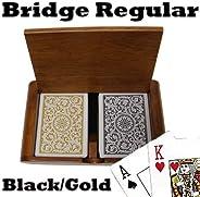 Copag Wooden Box Set - 1546 Black/Gold Bridge Regular 100% Plastic Playing Cards