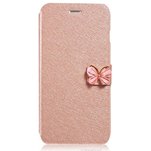 For iPhone 7 Case, HP95(TM) Luxury Women Girls Flip Leather Slim Wallet Card Magnetic Case Cover with Butterfly For iPhone 7 4.7inch (Gold)