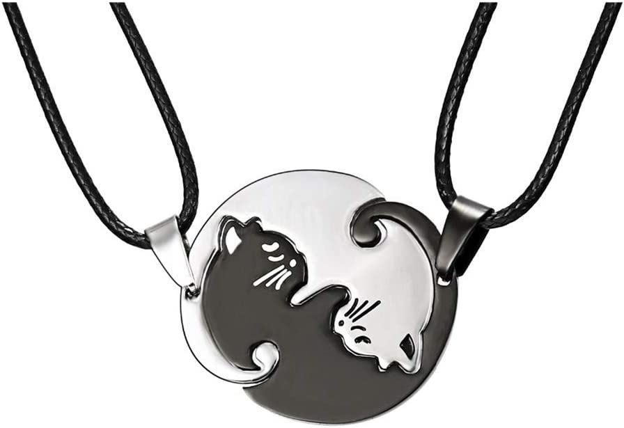 YSoutstripdu Set Of 2 Hugging Cats Pendant Matching Necklaces For Couple Valentines Day Jewelry Gift