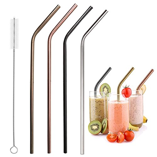 4 Pack Metal (4 Packs Metal Straws Reusable Multi Color 18/8 Stainless Steel Extra Long Drinking Straws for 30oz and 20oz Cups Rumblers Fits all Yeti Ozark Trail SIC & RTIC Tumblers Party, With a Clean Brush)