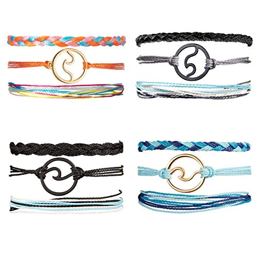 CARSHIER 12 Pieces Wave Strand Bracelet Set Handmade Adjustable Friendship Bracelet Handcrafted Jewelry Women A