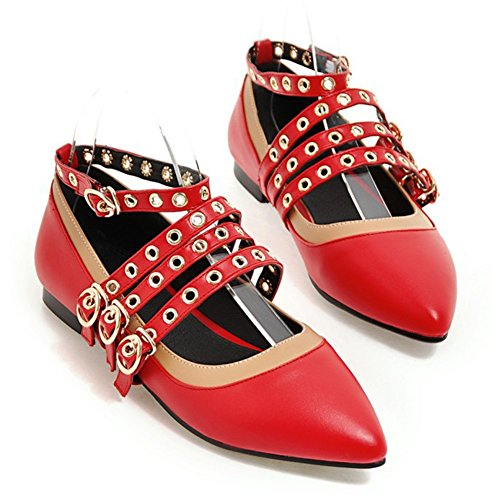 Aisun Womens Stylish Strappy Pointed Toe Buckle Flats Shoes With Ankle Straps Red 5JCfwCNnan
