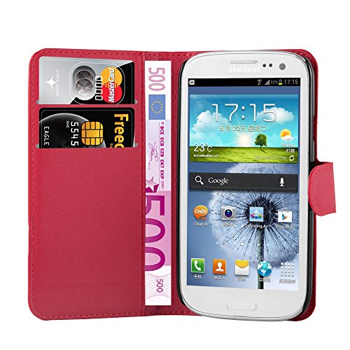 with Samsung Galaxy S3 MINI Book Case in CANDY APPLE RED – with Magnetic Closure, Stand Function and Card Slot – Wallet Case Etui Cover PU Leather Flip ()