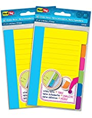 """Redi-Tag 6 Divider Sticky Ruled Notes Per Pack, 4"""" X 6"""", Assorted Neon Colors, 3 Pack (1245)"""