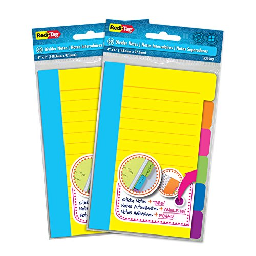 Redi-Tag Divider Sticky Notes, Tabbed Self-Stick Lined Note Pad, 60 Ruled Notes per Pack, 4 x 6 Inches, Assorted Neon Colors, 2 Pack (10290) (Divider Room System)