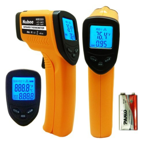 Nubee 8380H Non-contact Infrared Thermometer Temperature Gun with Laser Sight MAX Display (Heat Sensor)