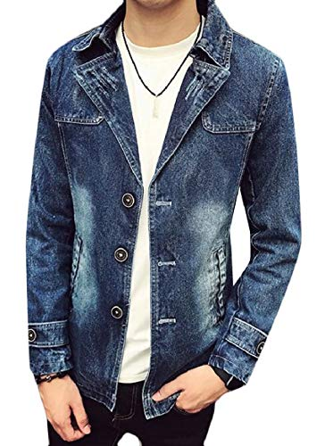 Collar Jacket Blue Single Denim Men's Rugged Wear security Classic Breasted Notched tBwPwg