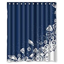 """DDLY Ocean Theme Sea Life Seashell Shell Conch Shower Curtains 60"""" x 72"""" Waterproof Polyester Eco-friendly Bath Curtain"""