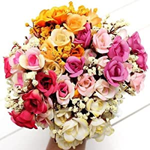 Artificial Roses Flowers, gloednApple Pearl Silk Roses Plant Garland Party Wedding Home Decor 52