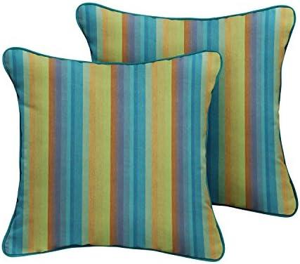 Mozaic Company Sunbrella Indoor Outdoor Corded Pillows, Astoria Lagoon Stripe and Spectrum Peacock, Set of 2