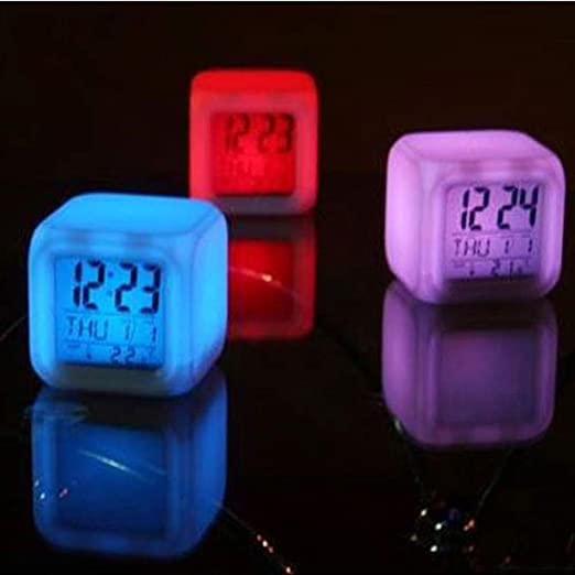 Digital Alarm Thermometer Night Glowing Cube 7 Colors Clock LED Change