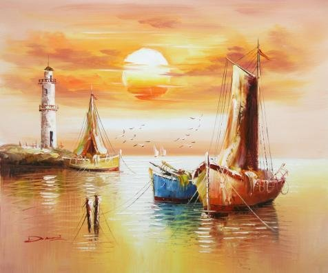 ['Boats,Sea Gulls,Lighthouse And Sun' Oil Painting, 16x19 Inch / 41x49 Cm ,printed On Perfect Effect Canvas ,this Reproductions Art Decorative Prints On Canvas Is Perfectly Suitalbe For Gym Decoration And Home Decor And] (Sexy Halloween Costumes Canada)