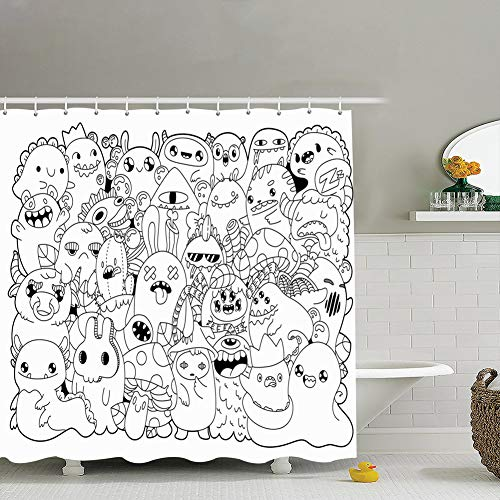 jtykftuf Doodle Monsters Cute Cartoons Kawaii Style Coloring Backgrounds Textures Abstract Holidays Fabric Bathroom Decor Set with Hooks, 72 x 72 Inches