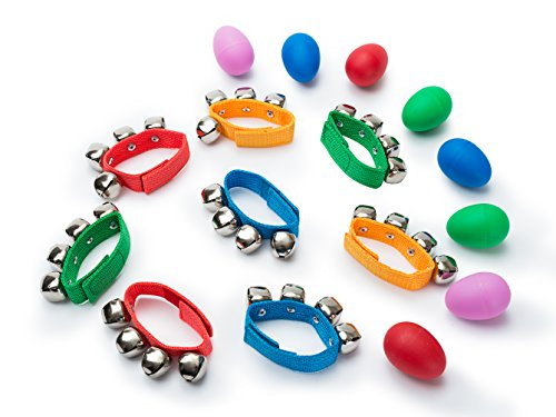 Egg Shaker Hand Wrist Bells Percussion Set - Hand Held Bells and Plastic Egg Shakers for Kids - Eight Pairs of Fun and Exciting Musical Toys for Kids, Ideal for (Movies That Begin With B)