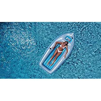 Swim Central Inflatable Gray and Blue Classic Boat Cruiser with Cooler Pool Float, 105-Inch: Toys & Games
