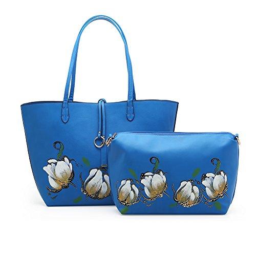 Amarte Women's Waterproof Soft Leather Tote Bag Hand Painted Flower Shoulder Handbag Set, Dark Blue