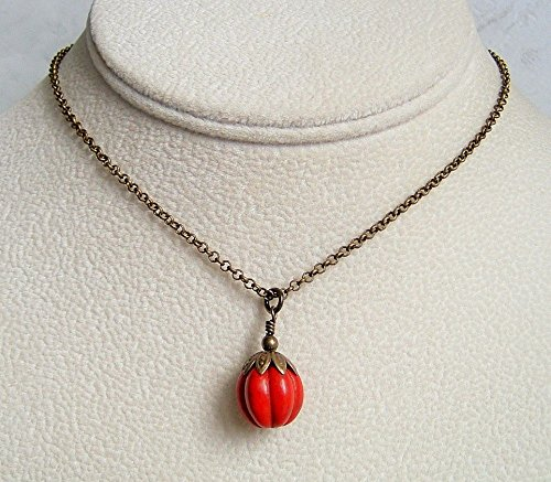 Red Howlite Carved Pumpkin Antiqued Brass Necklace Gift Idea 18 (Simple Idea For Halloween Costume)