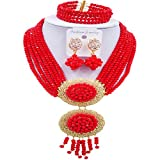 acuzv 6 Rows African Necklaces for Women Nigerian Beads Jewelry Set Wedding Bridal Party Jewelry Sets