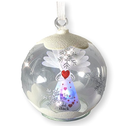 BANBERRY DESIGNS Love You to The Moon and Back Ornaments - LED Lighted Glass Christmas Ornament - Light Up Globe with I Love You to The Moon and Back Angel ()