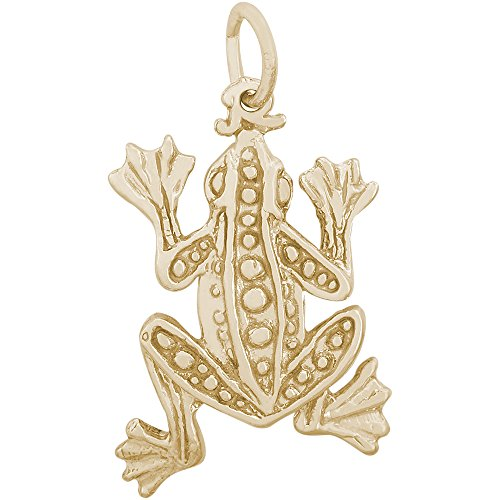 Rembrandt Charms 14K Yellow Gold Frog Charm on a 14K Yellow Gold Rope Chain Necklace, 16