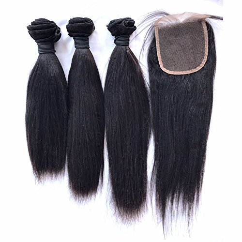 - FDshine Yaki Brazilian Hair Closure and Bundles Human Hair Extensions with Lace Closure 4x4 Natural Black Hair Pack of 4 (10