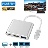 USB-C to HDMI Adapter, Wuedozue 3 in 1 Type C to HDMI Digital AV Cable and USB C Charging Port and USB 3.0 Port with 1080P Resolution Sync Screen for MacBook, iPad Pro,Chromebook Pixel to TV Screen