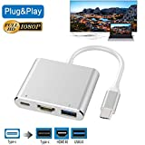 USB-C to HDMI Adapter, Wuedozue 3 in 1 Type C to HDMI Digital AV Cable and USB C Charging Port and USB 3.0 Port with 1080P Resolution Sync Screen for MacBook, Chromebook Pixel to TV Screen (Silver)