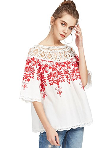 Romwe Women's Cold Shoulder Floral Embroidered Lace Scalloped Hem Blouse Top White ()