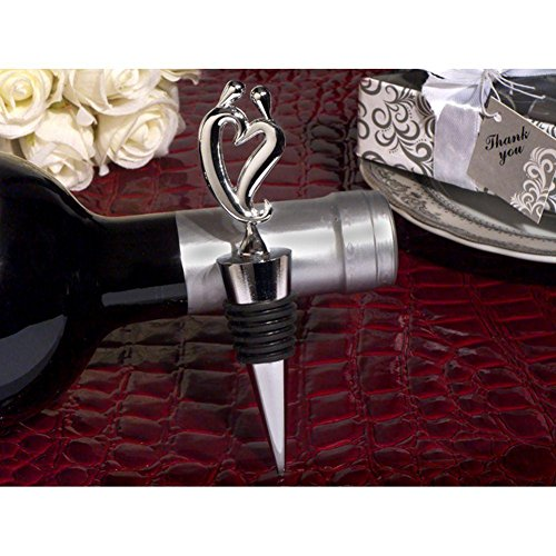 Two Hearts Become One Silver Wine Stopper - 36 Pieces by Cassiani