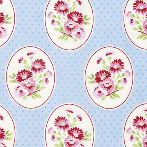 Free Spirit Tanya Whelan Rambling Rose PWTW135 Granny's Wallpaper Blue Cotton Fabric by Yd