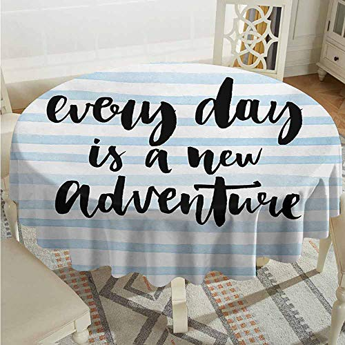 XXANS Custom Tablecloth,Inspirational Quotes,Every Day is a New Adventure Calligraphy Text Watercolor Stripes Print,Party Decorations Table Cover Cloth,50 INCH,Pale -