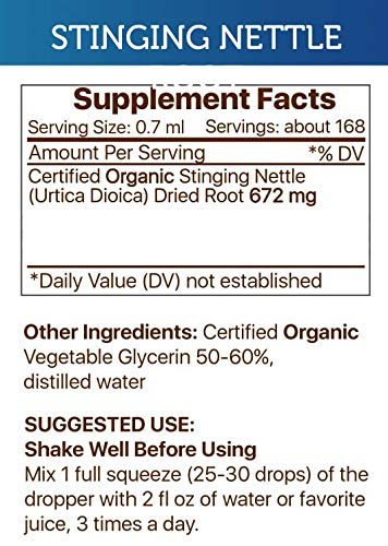 Stinging Nettle Alcohol-Free Liquid Extract, Organic Stinging Nettle Urtica Dioica Dried Root 4 FL OZ