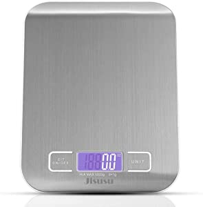 Digital Kitchen Scale, Multifunction Food Scale,Precise Cooking Scale and Baking Scale Accuracy with LCD Display Tare Function,11lb/5kg, Silver, Stainless