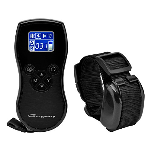 Remote Dog Training Collar, Cozypony Operation Shock Collar for Training Dog, 880 Yard Rechargeable and Waterproof E-Collar Trainer with Beep Vibration Electric Shock and Voice 4 in 1 -Black
