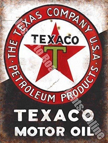 Texaco Aceite De Motor Texas Gasolina Garaje Vintage Anuncio Metal ...