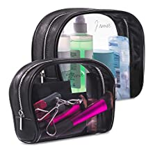 J'arrive 2pcs TSA Approved Toiletry Bag Large Quart Size Clear Toiletry Bag Clear Travel Makeup Bag Set Carry On Airport Airline Compliant 3-1-1 Luggage Kit Liquids Cosmetic Pouch toiletries (Black)