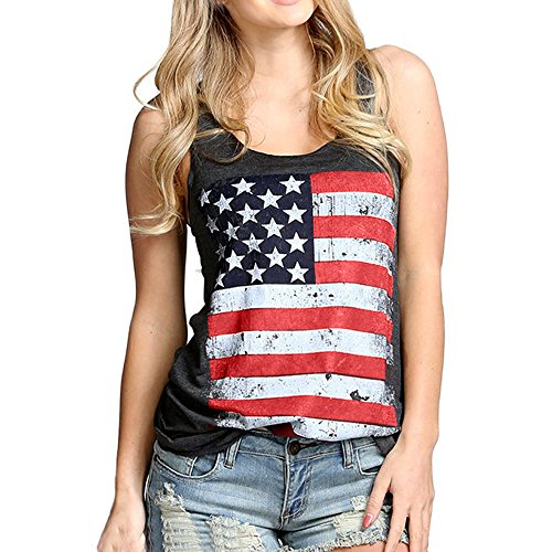 (HGWXX7 Women Casual American Flag Print Sleeveless Cotton Blouse Vest Tank Tops (M, Dark Gray))