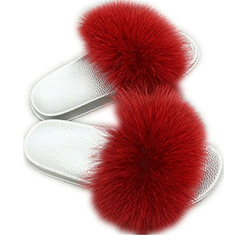 Shoes Fashion Flat for Fur Slippers Slides Soft Wine qmfur Silver Girls Fox Red Real Women Summer xqA0XFP