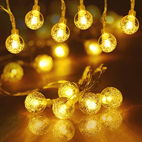 ALOVECO Battery Operated LED String Lights, 14.8ft 40 Crystal Balls Waterproof LED Fairy Lights, Indoor Outdoor Globe Fairy String Lights, 8 Modes Decorative Lighting for Dorm, Garden, Party