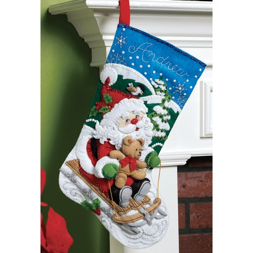 Bucilla 18-Inch Christmas Stocking Felt Applique Kit, 86279 Santa's Sled by Bucilla