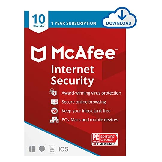 McAfee Internet Security 2021, 10 Device, Antivirus Software, Password Protection, 1 Year – Download Code