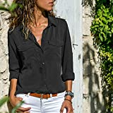 XOWRTE Women's Solid Tops Turn Down Collar Pockets Button Front Shirt Long Sleeve Blouse T-Shirt
