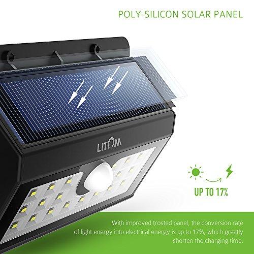 Solar Lights Outdoor, LITOM Super Bright Motion Sensor
