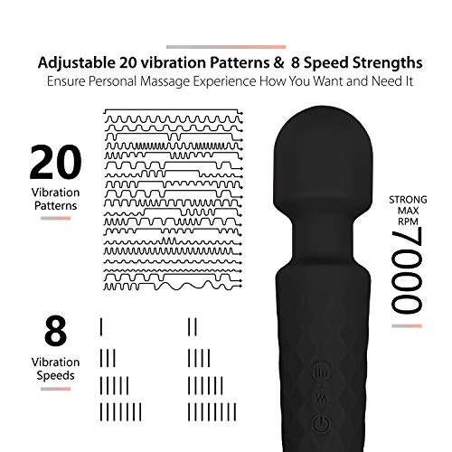 Waterproof Personal Cordless Wand Massager, Rechargeable Powerful Handheld Waterproof Body Massager with 20 Vibration Patterns and 8 Multi Speed for Full Body Massage-Black