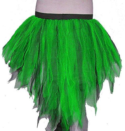 [Green Black Trashy Bustle Peacock Seven Layer Trashy Tutu Skirt Halloween] (Peacock Spider Costume)