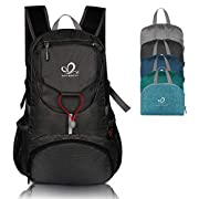 WATERFLY Hiking Backpack Lightweight Packable Hiking Daypack for Outdoor Traveling Cycling Camping (Black)