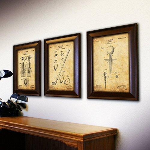 Review 3 pc Framed Modern Patent Set – Golf 14″x17″