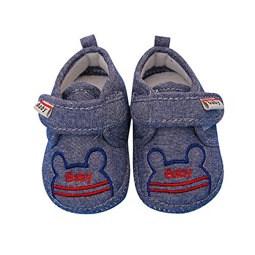 yuye-xthriv Cute Cartoon Magic Tape Baby Infant Anti-Slip Soft Sole Prewalker Toddler Shoes Denim 15(9-12M)