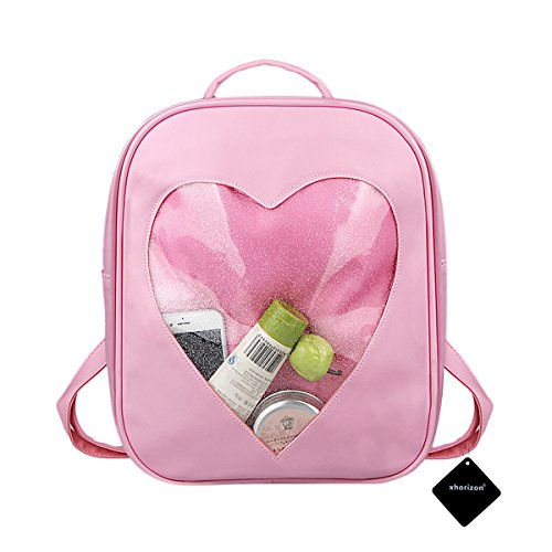 xhorizon TM FL1 Candy Leather Backpack Plastic Transparent Heart Beach Girls School Bag (Pink)